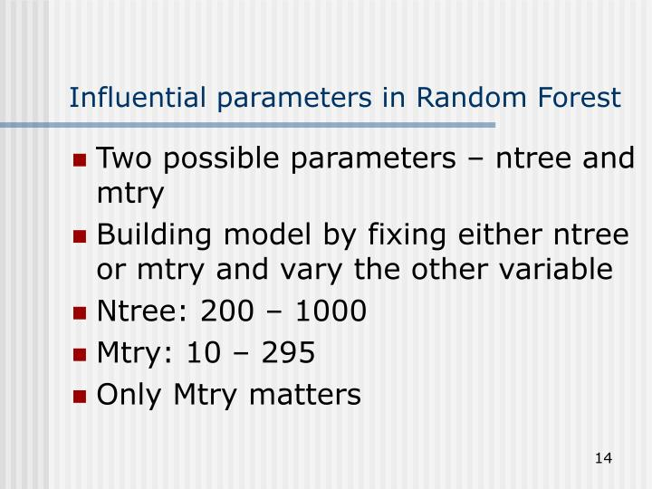 Influential parameters in Random Forest