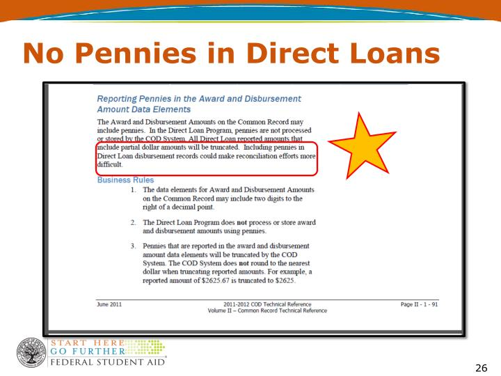 No Pennies in Direct Loans