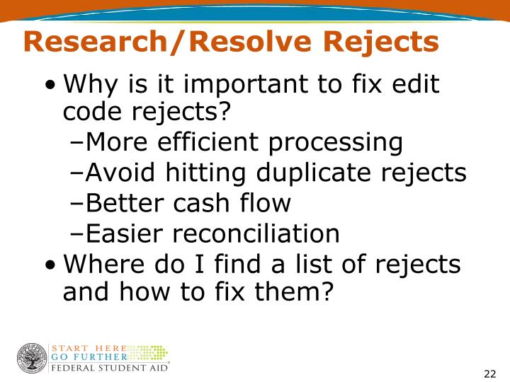 Research/Resolve Rejects