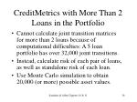 creditmetrics with more than 2 loans in the portfolio