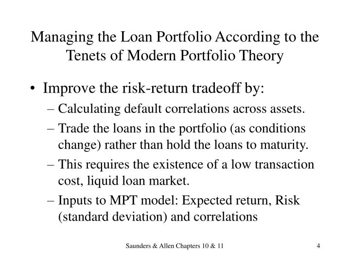 Managing the Loan Portfolio According to the Tenets of Modern Portfolio Theory