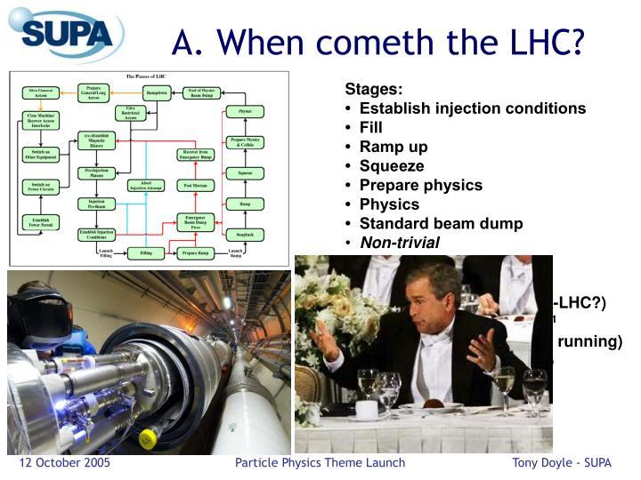 A. When cometh the LHC?