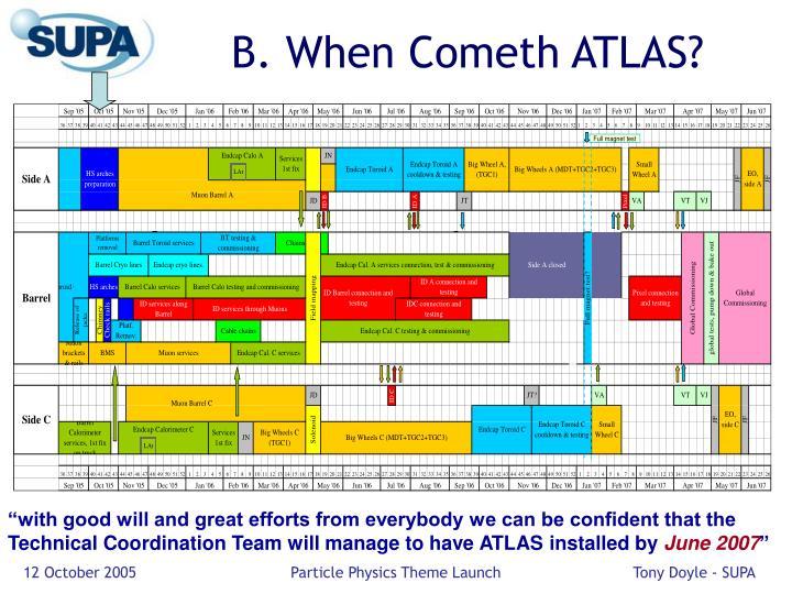 B. When Cometh ATLAS?