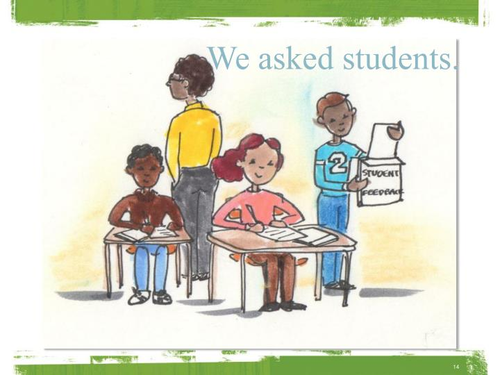 We asked students.
