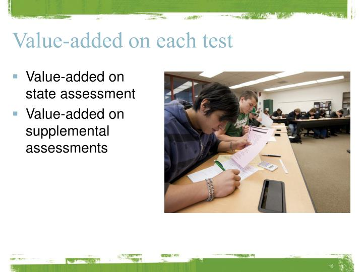 Value-added on each test