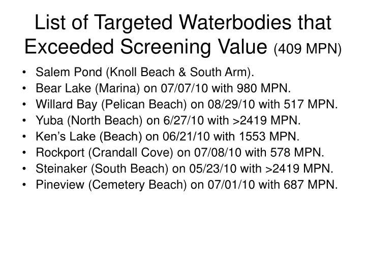 List of Targeted Waterbodies that Exceeded Screening Value