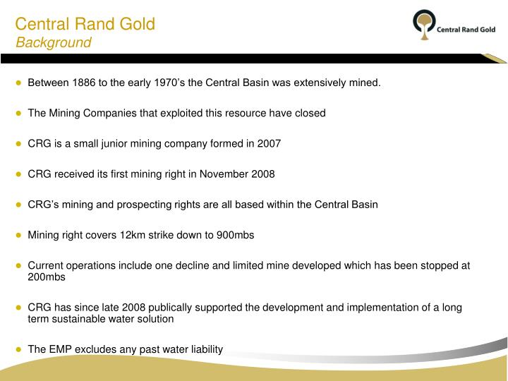 Central rand gold background