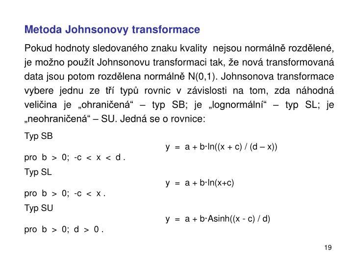 Metoda Johnsonovy transformace