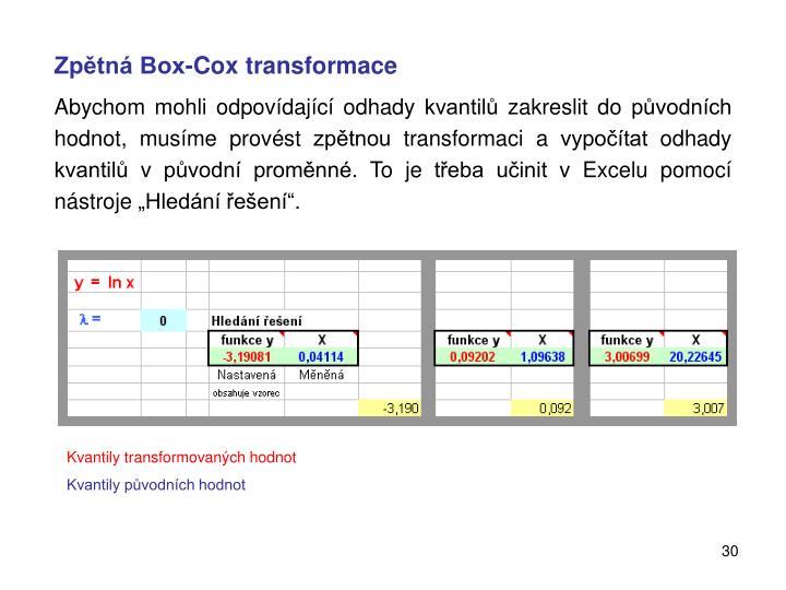 Zpětná Box-Cox transformace