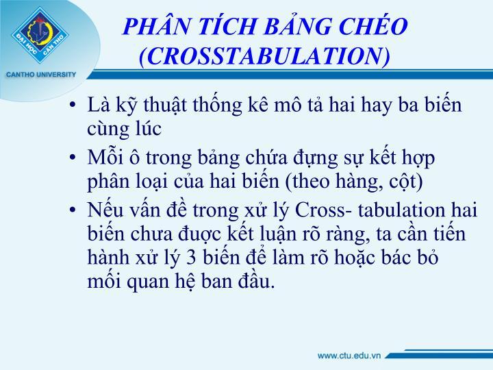 PHÂN TÍCH BẢNG CHÉO (CROSSTABULATION)