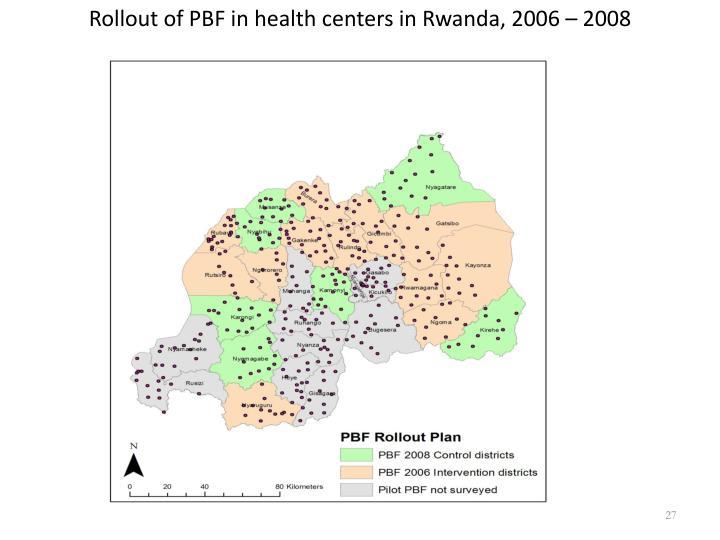 Rollout of PBF in health centers in Rwanda, 2006 – 2008