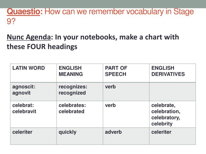 Quaestio how can we remember vocabulary in stage 9