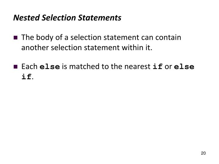 Nested Selection Statements