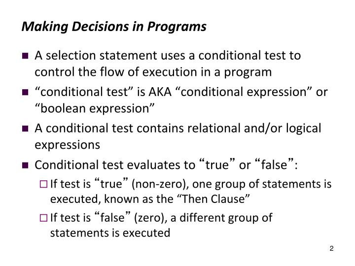 Making Decisions in Programs