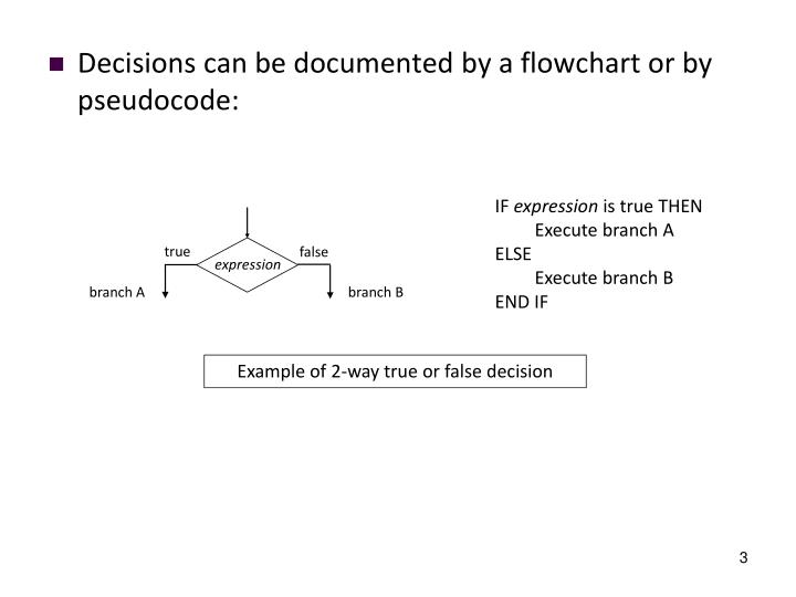 Decisions can be documented by a flowchart or by pseudocode: