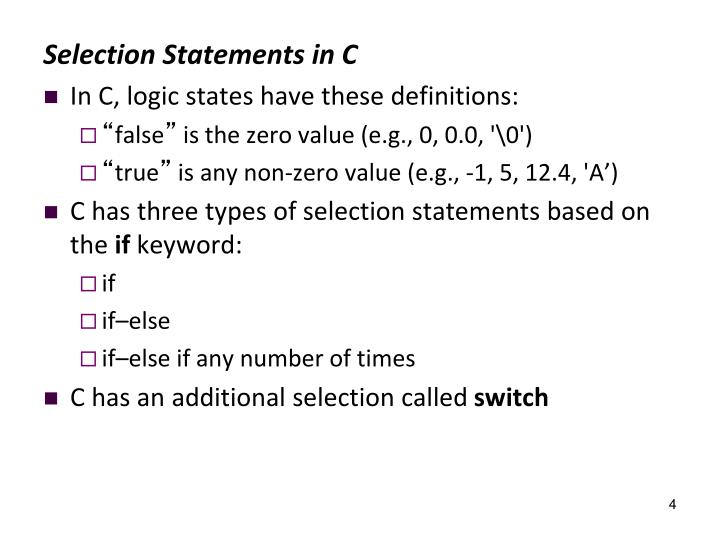 Selection Statements in C