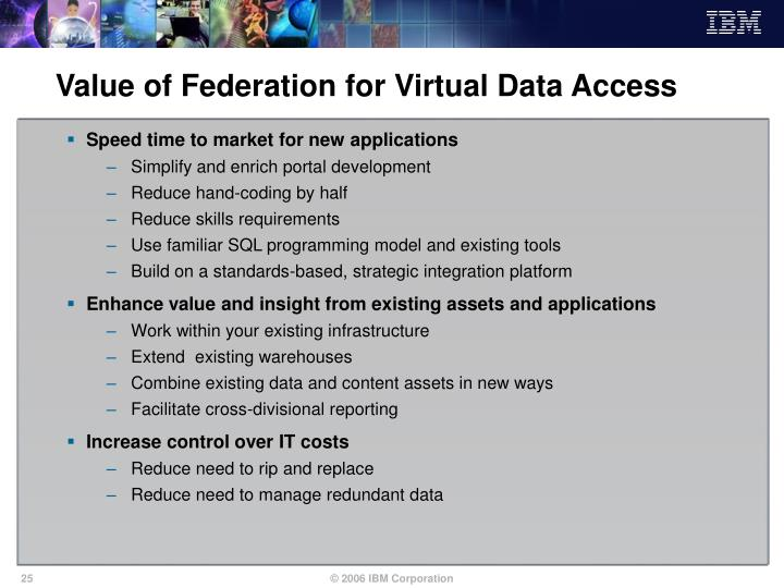 Value of Federation for Virtual Data Access