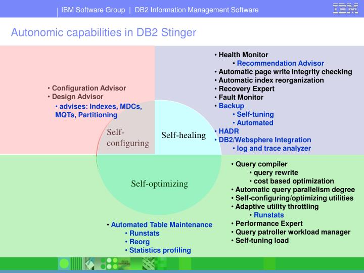 Autonomic capabilities in DB2 Stinger