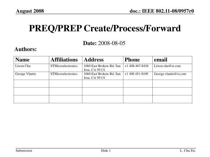 preq prep create process forward