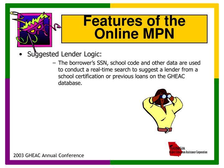 Suggested Lender Logic: