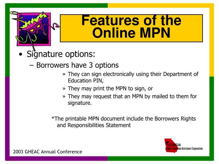 Signature options: