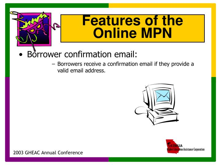 Borrower confirmation email: