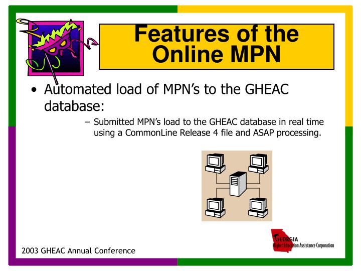 Automated load of MPN's to the GHEAC database:
