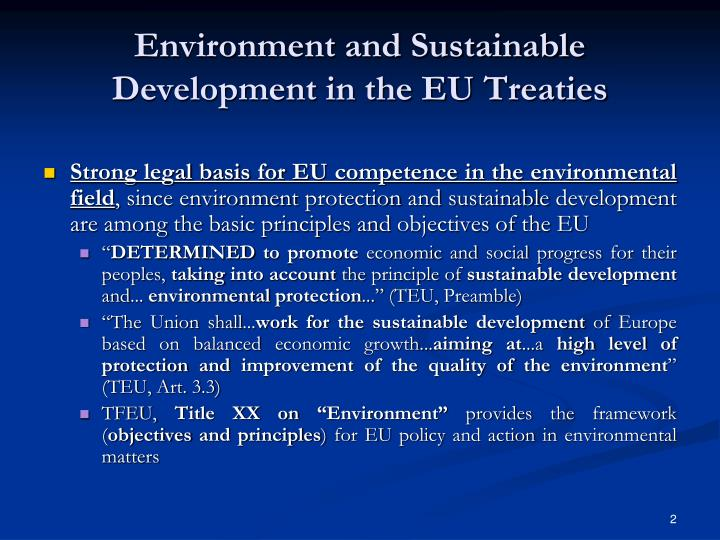 Environment and Sustainable Development in the EU Treaties