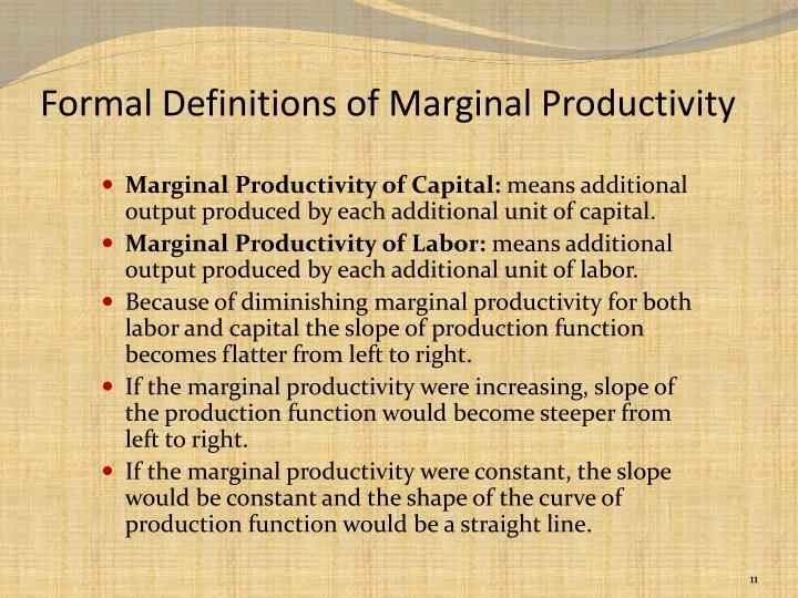 Formal Definitions of Marginal Productivity