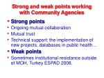 s trong and weak points working with community agencies