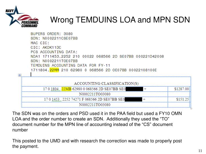 Wrong TEMDUINS LOA and MPN SDN