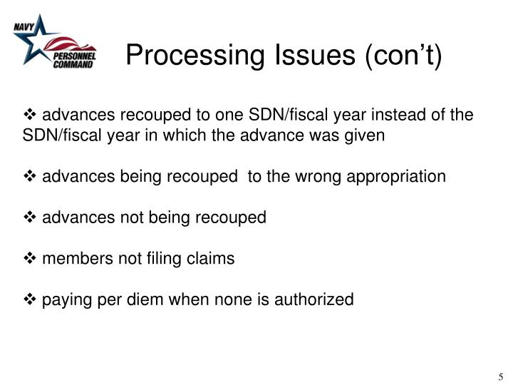 Processing Issues (
