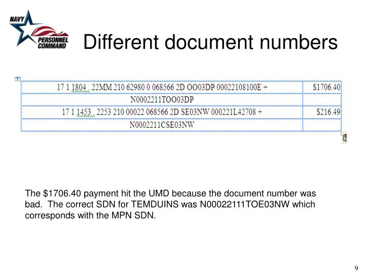 Different document numbers