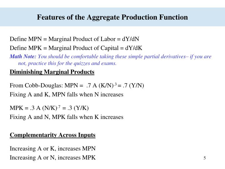 Features of the Aggregate Production Function