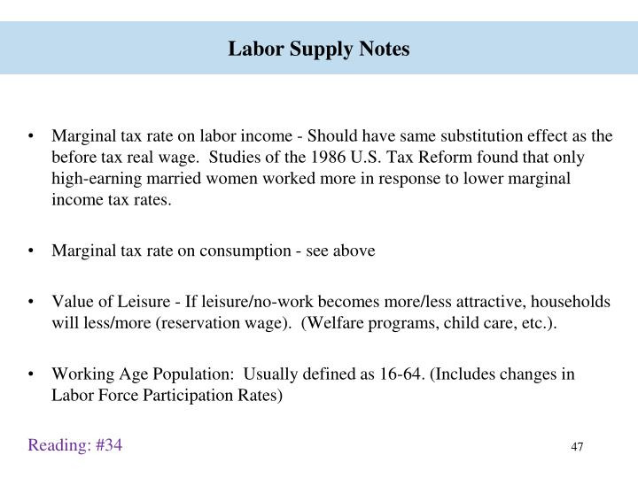 Labor Supply Notes