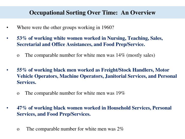 Occupational Sorting Over Time:  An Overview