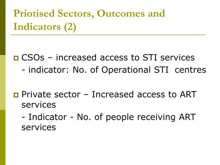 Priotised Sectors, Outcomes and Indicators (2)