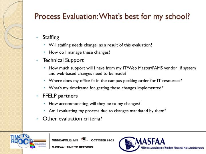Process Evaluation: What's best for my school?