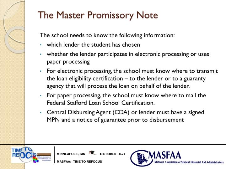 The Master Promissory Note