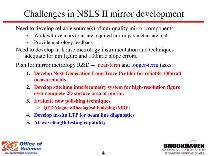 Challenges in NSLS II mirror development
