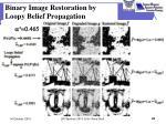 binary image restoration by loopy belief propagation