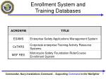 enrollment system and training databases