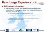 basic usage experience ctd