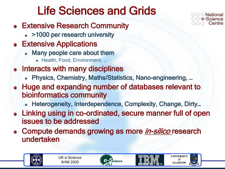 Life sciences and grids