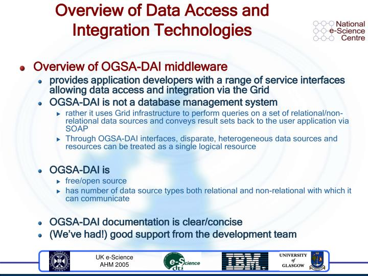Overview of Data Access and Integration Technologies