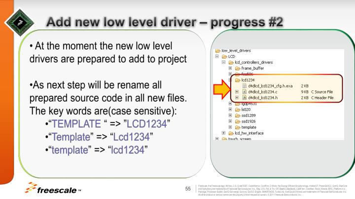 Add new low level driver – progress #2