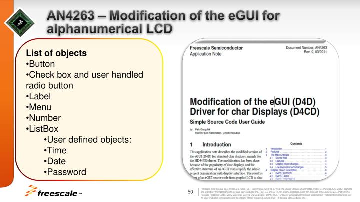 AN4263 – Modification of the eGUI for alphanumerical LCD