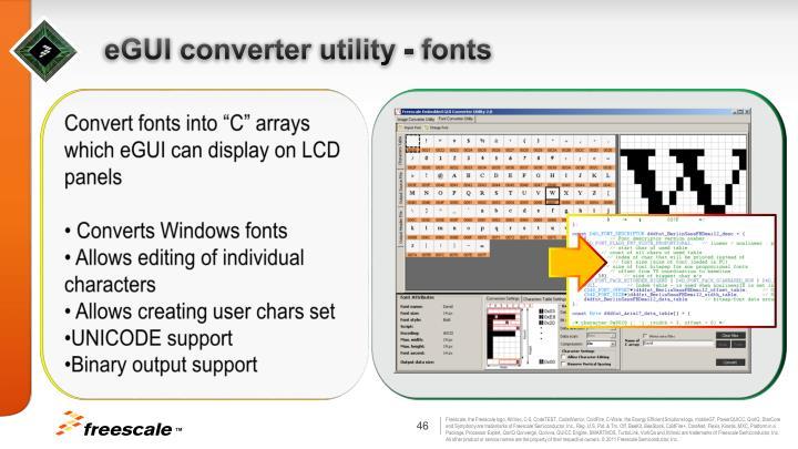 eGUI converter utility - fonts