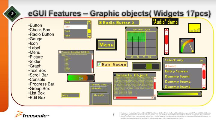 eGUI Features – Graphic objects( Widgets 17pcs)