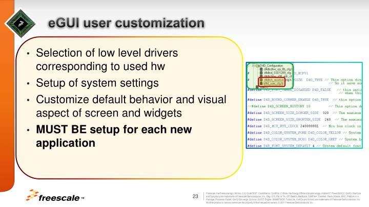 eGUI user customization